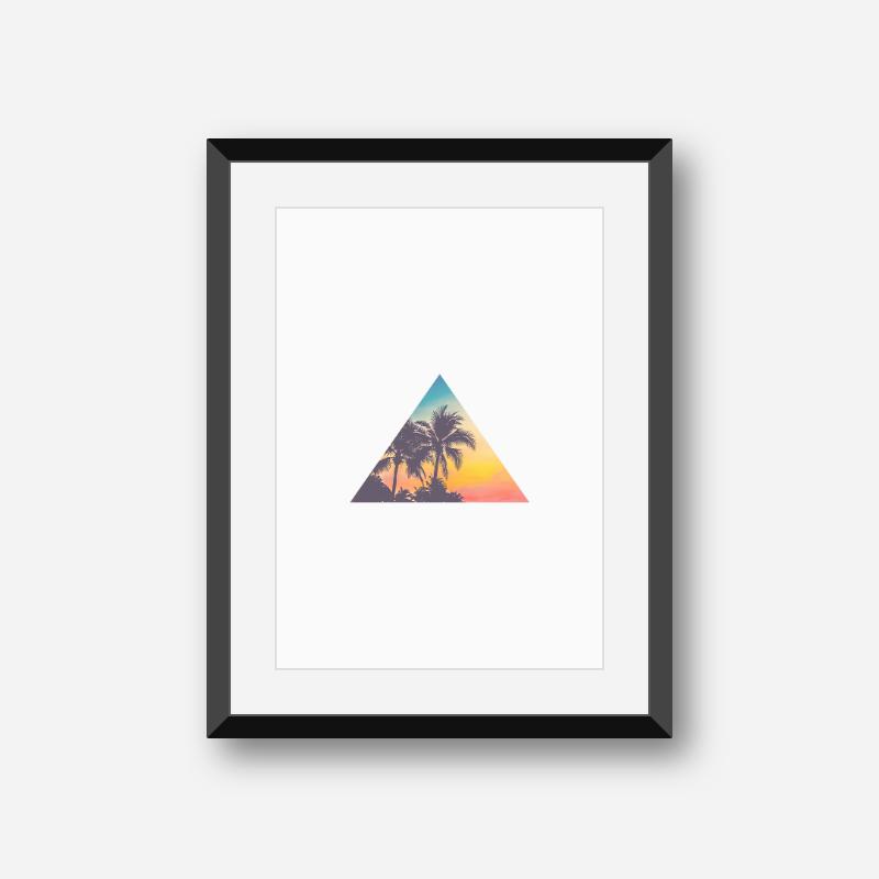 Palm tree summer concept triangle minimalist Scandinavian printable wall art, digital print