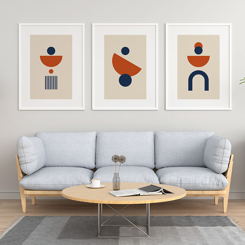 Blue and red circle half circle geometric shapes with light brown background free minimalist downloadable printable wall art design, digital print