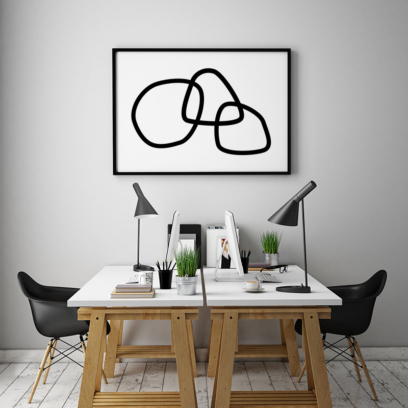 Minimalist black abstract rings canvas type free downloadable printable wall art design