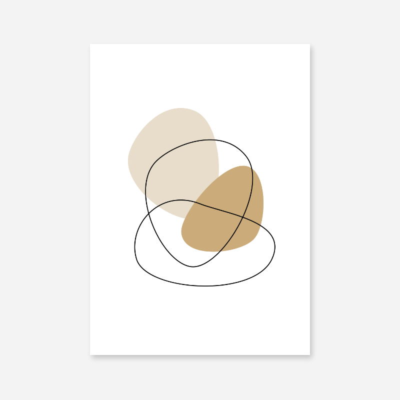 Minimalist modern brown beige abstract shapes with black fine outlines free downloadable printable wall art, digital print