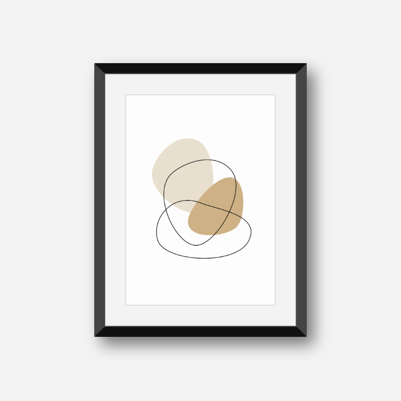 Minimalist modern brown beige abstract shapes with black fine outlines free downloadable printable wall art