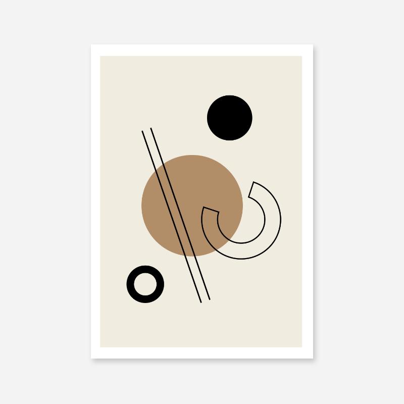 Geometric black circle lines half circle shapes with brown cream beige background minimalist modern downloadable printable wall art, digital print