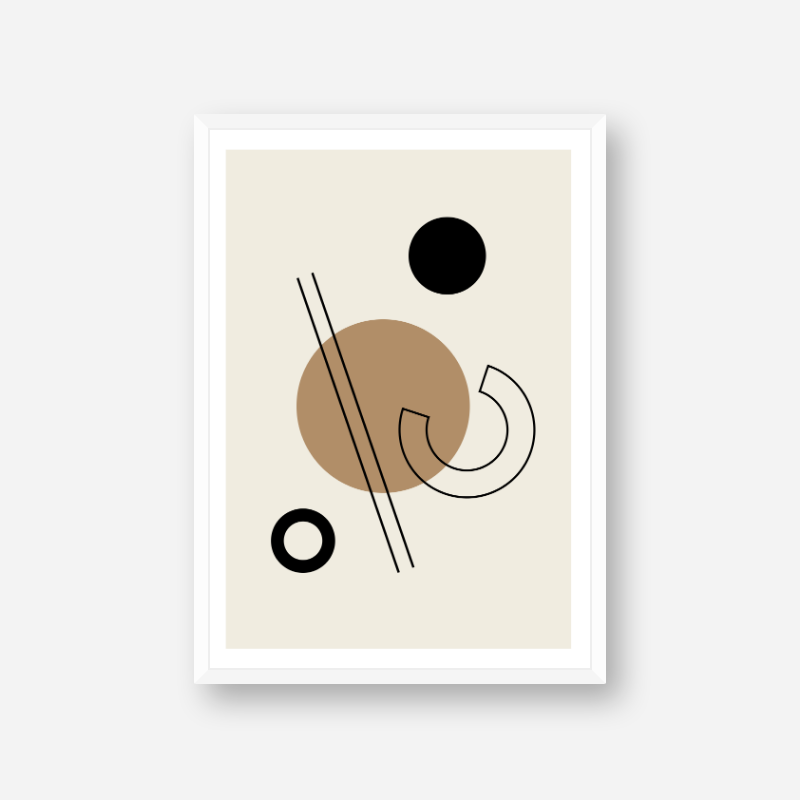Geometric black circle lines half circle shapes with brown cream beige background minimalist modern downloadable printable wall art