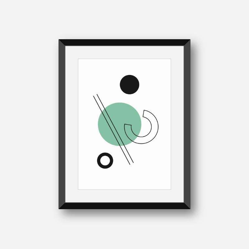 Geometric green blue circle black lines half circle shapes with brown cream beige background minimalist modern downloadable printable wall art, digita
