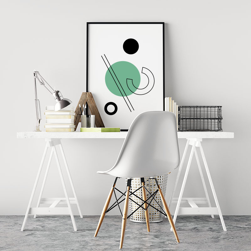 Geometric green blue circle black lines half circle shapes with brown cream beige background minimalist modern downloadable printable wall art