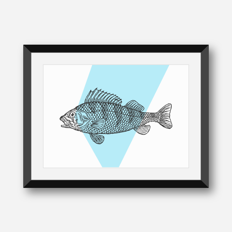 Fish with blue background scalable free downloadable printable wall art design, digital print