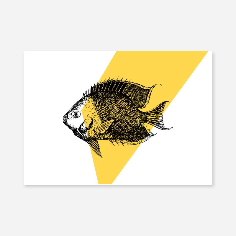 Fish with yellow background scalable free downloadable printable wall art design
