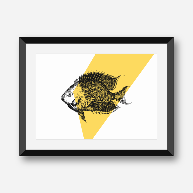 Fish with yellow background scalable free downloadable printable wall art design, digital print