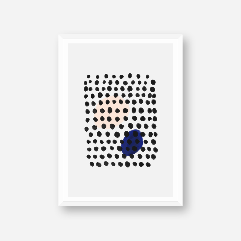 Black water ink dots spots with peach and blue dots in the background minimalist downloadable wall art, digital print