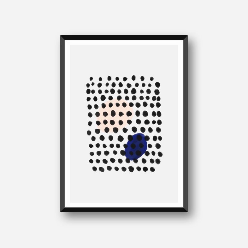 Black water ink dots with peach and blue dots in the background minimalist downloadable wall art, digital print