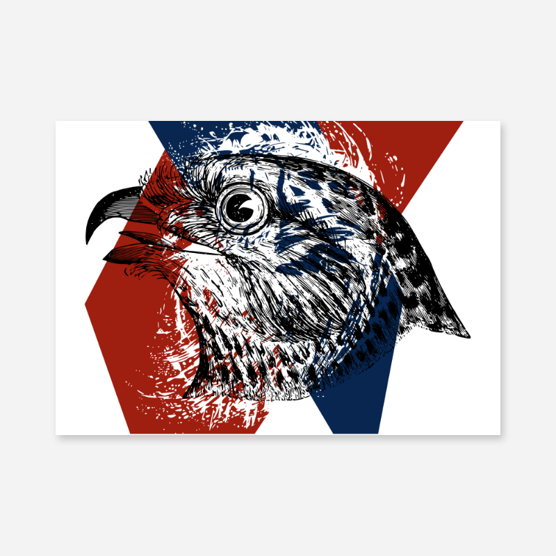 Eagle with red blue and white abstract background downloadable free printable wall art design