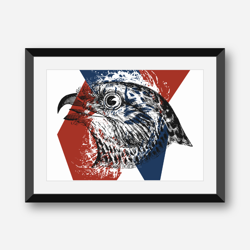 Eagle with red blue and white abstract background downloadable free printable wall art design, digital print