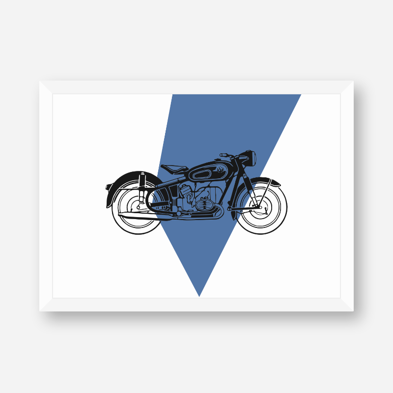 Vintage motorcycle with blue and white background scalable customisable free printable wall art