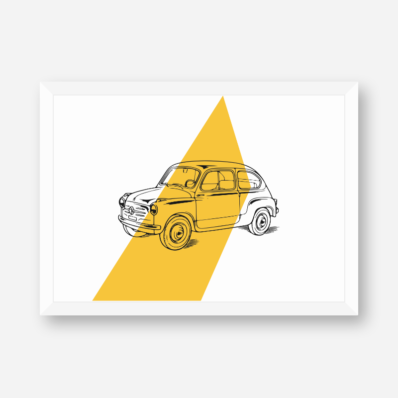 Vintage automobile with yellow background scalable customisable printable free wall art