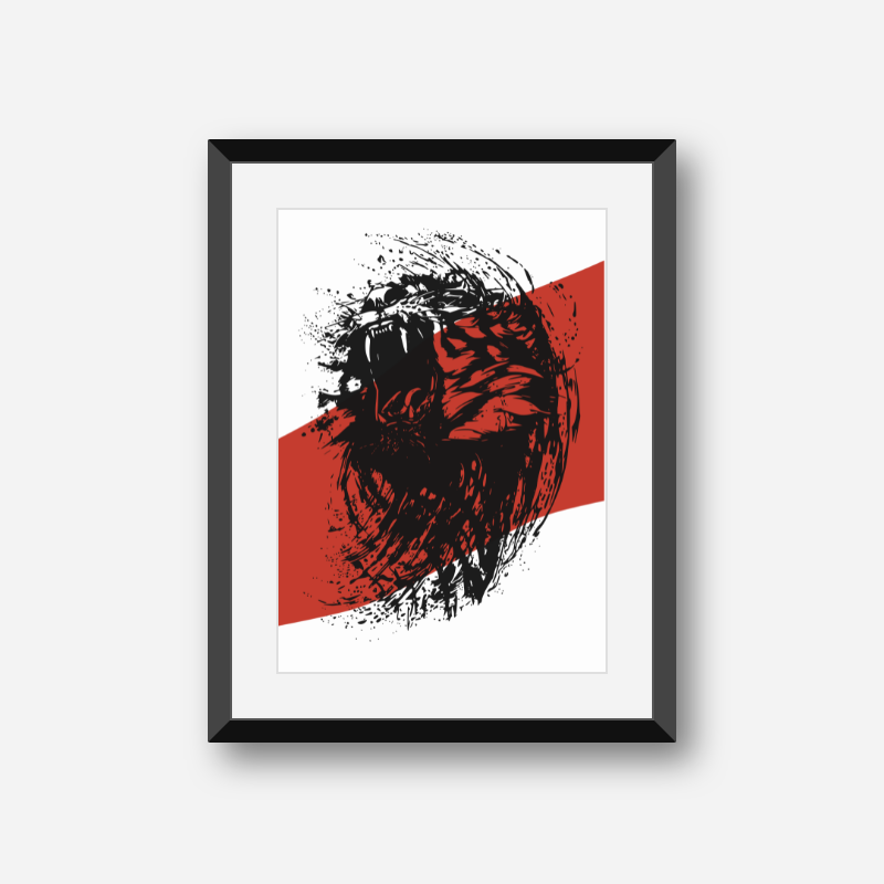 Roaring lion with red and white background scalable customisable printable free wall art