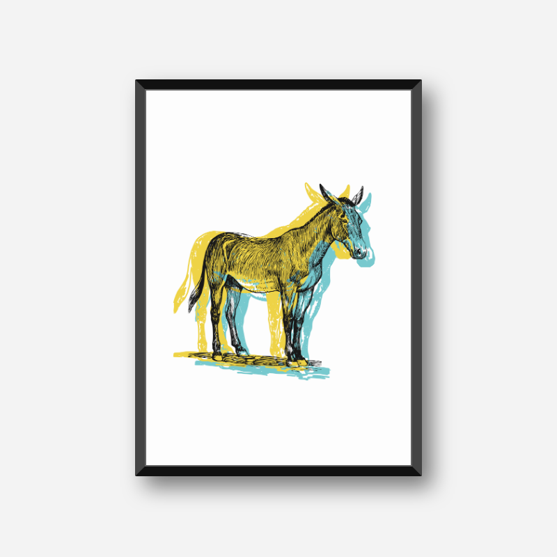 Black horse with yellow and light teal coloured shadow background scalable free wall art