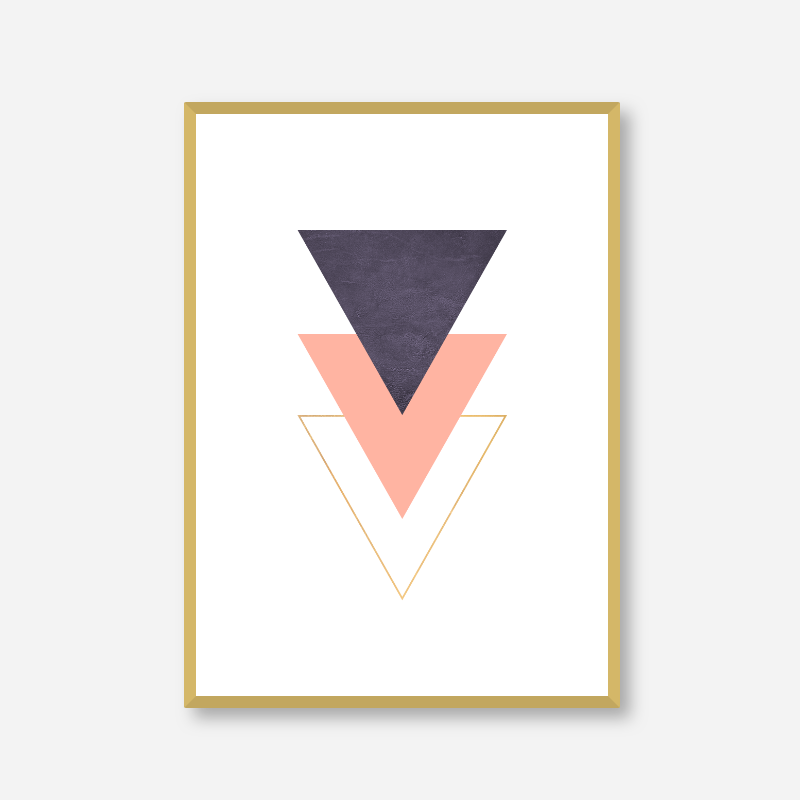 Purple pink gold peach colour triangles abstract minimalist printable wall art