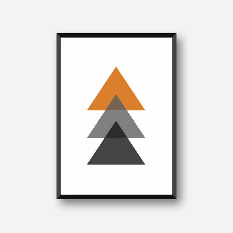 Black, grey and orange triangles minimalist Scandinavian nordic style scalable free wall art