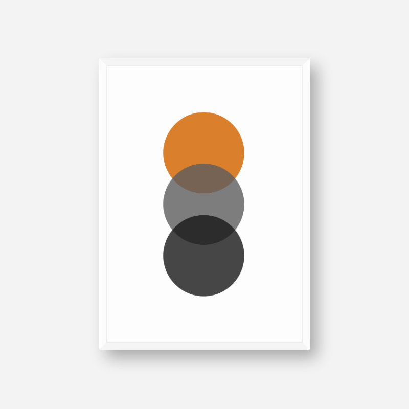 Black, grey and orange circles minimalist Scandinavian nordic style scalable free wall art, digital print