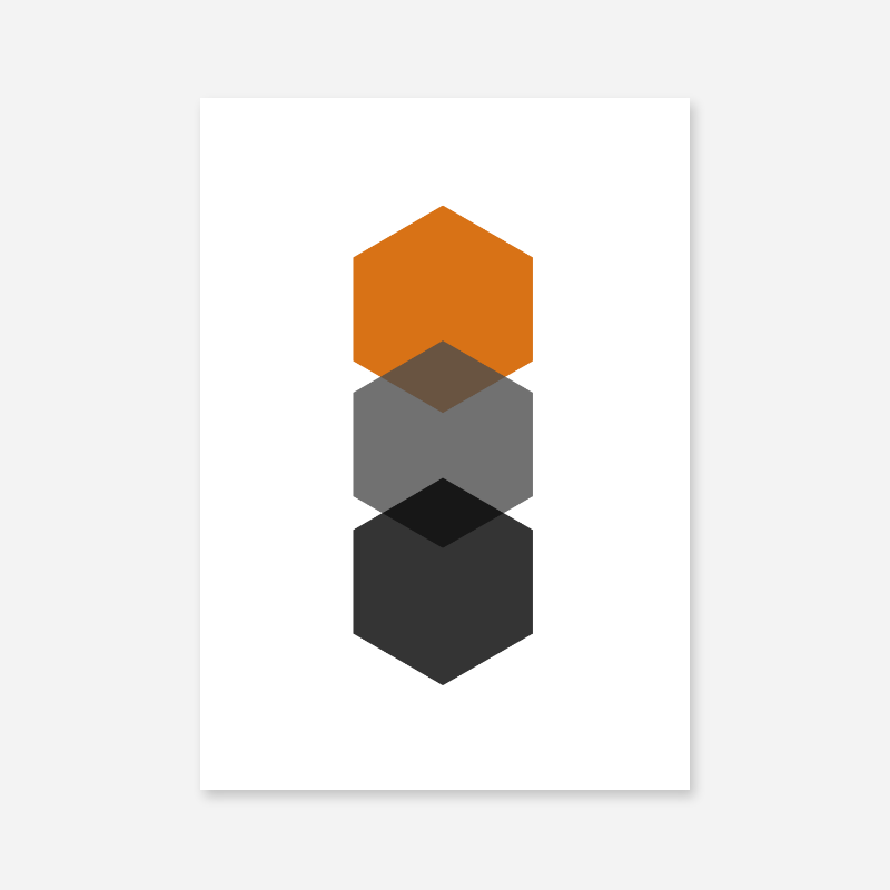 Black, grey and orange hexagons minimalist Scandinavian nordic style scalable free wall art