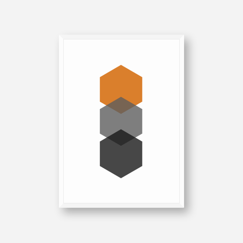 Black, grey and orange hexagons minimalist Scandinavian nordic style scalable free wall art, digital print