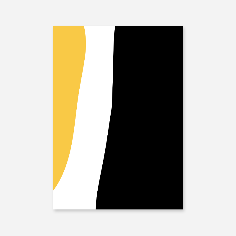 Yellow white and black abstract minimalist scalable downloadable printable free wall art, digital print