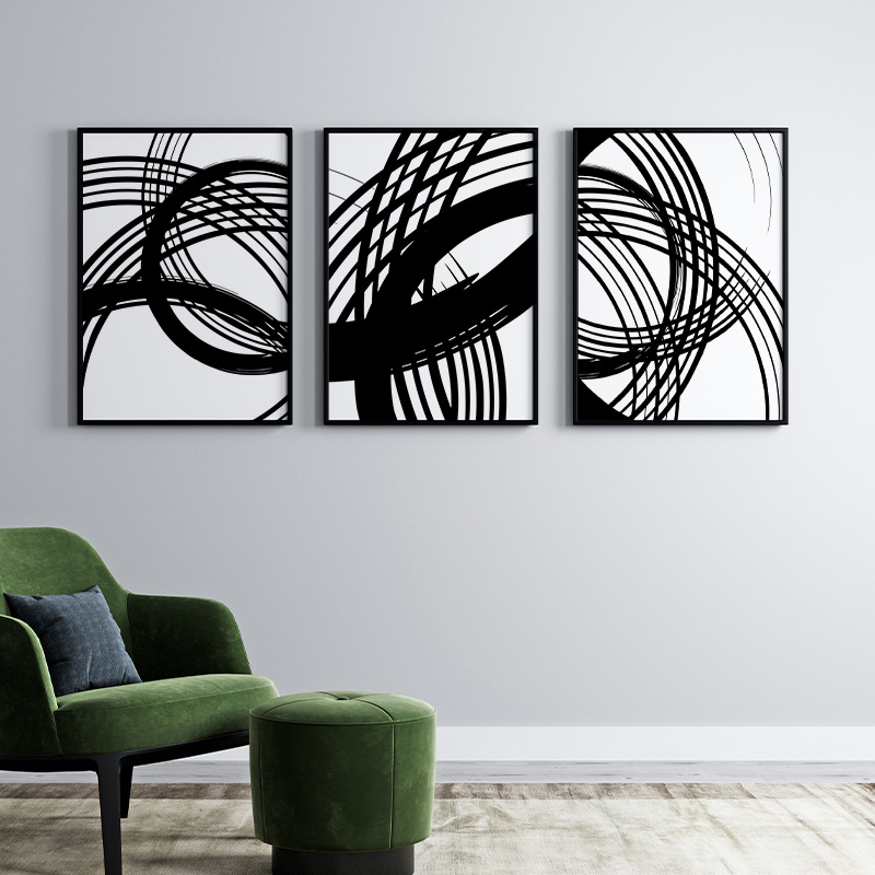 Black and white abstract circles and lines minimalist set of three free downloadable wall art design, digital print