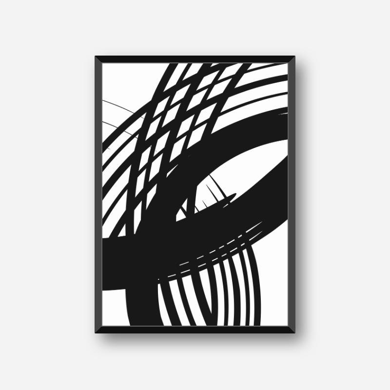 Black and white abstract minimalist scalable free downloadable wall art design