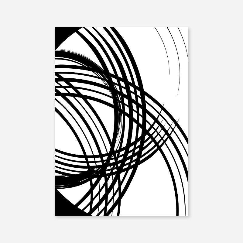 Black and white abstract lines minimalist set of three downloadable wall art design