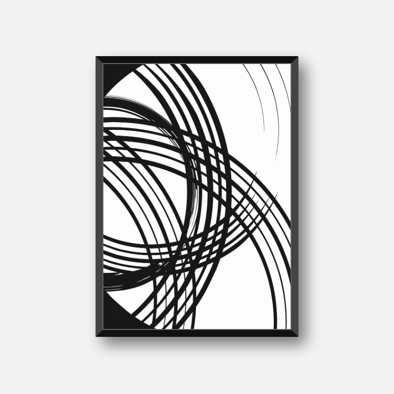 Black and white abstract lines minimalist set of three downloadable wall art design, digital print