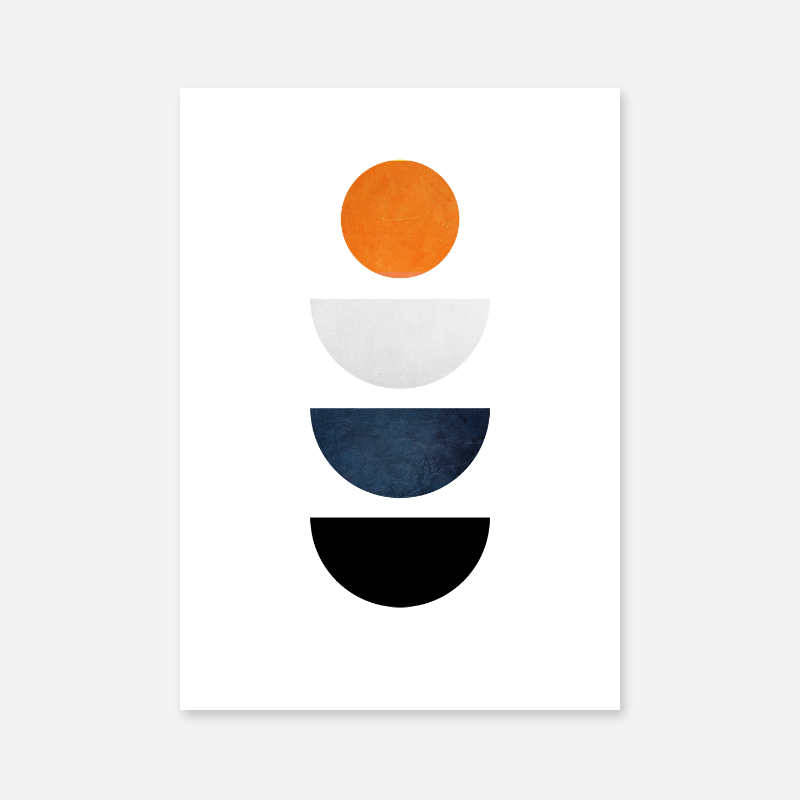 Half moons and circle orange blue and black minimalist Scandinavian nordic style downloadable wall art
