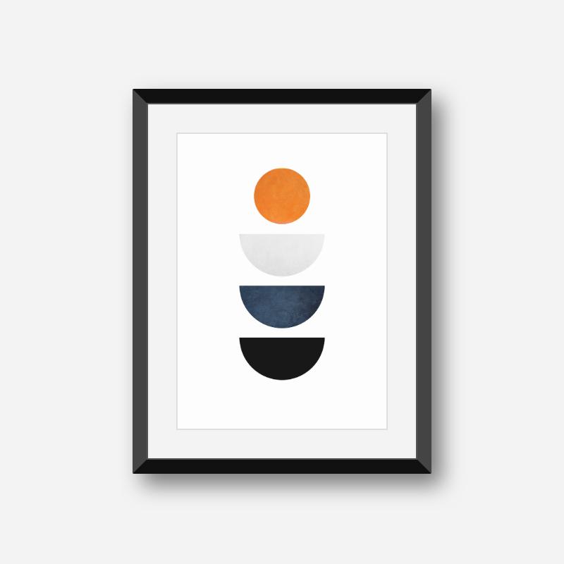Half moons and circle orange blue and black minimalist Scandinavian nordic style downloadable wall art, digital print