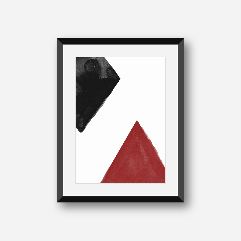 Black and red watercolour abstract downloadable wall art, digital print