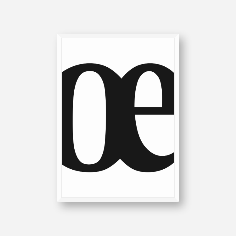 Black œ OE letters typography minimalist downloadable wall art design to print at home
