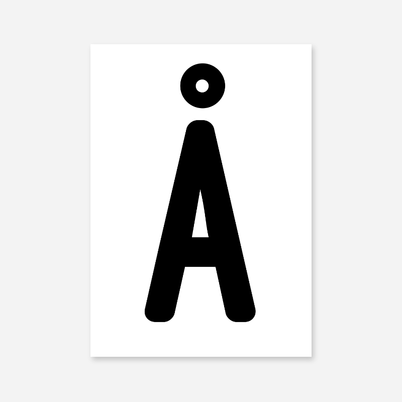 Å Swedish letter typography downloadable wall art design to print at home