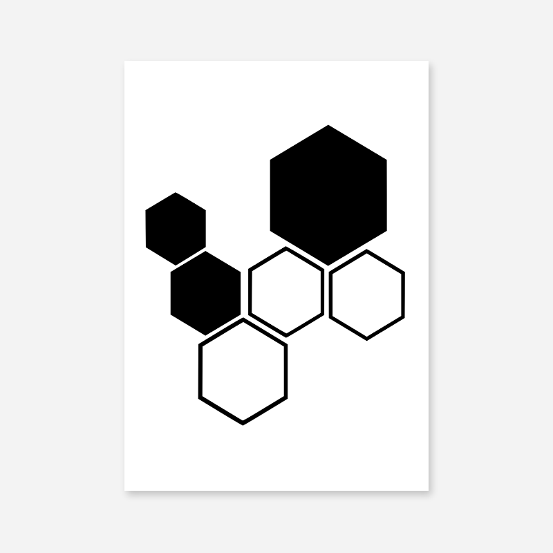 Black hive pattern minimalist downloadable design to print at home