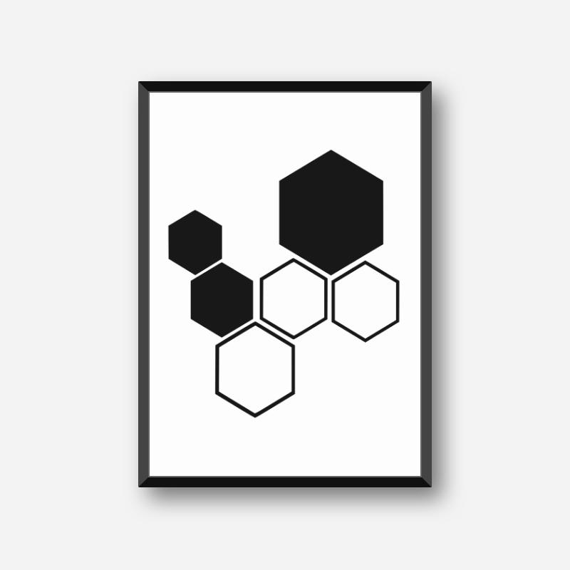 Black hive pattern minimalist downloadable design to print at home, digital print