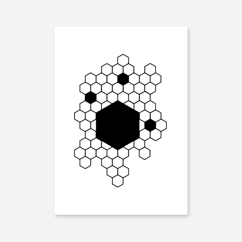 Black hive patterns minimalist downloadable design for wall art print at home