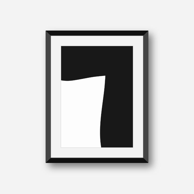 Black abstract shape minimalist printable design wall art, digital print