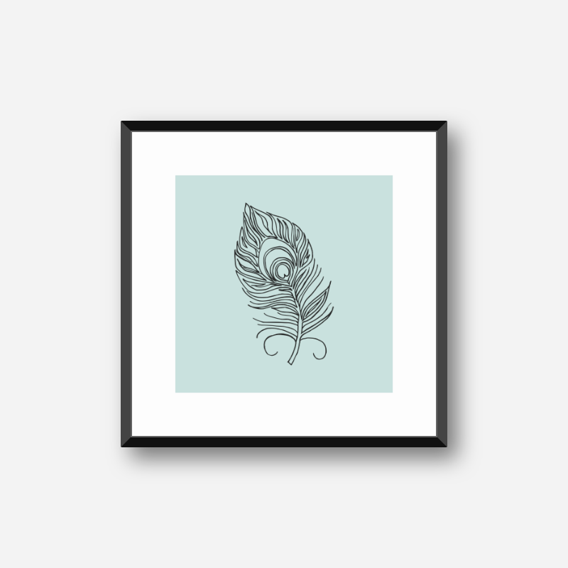 Black feather on light teal background free downloadable print at home design, digital print