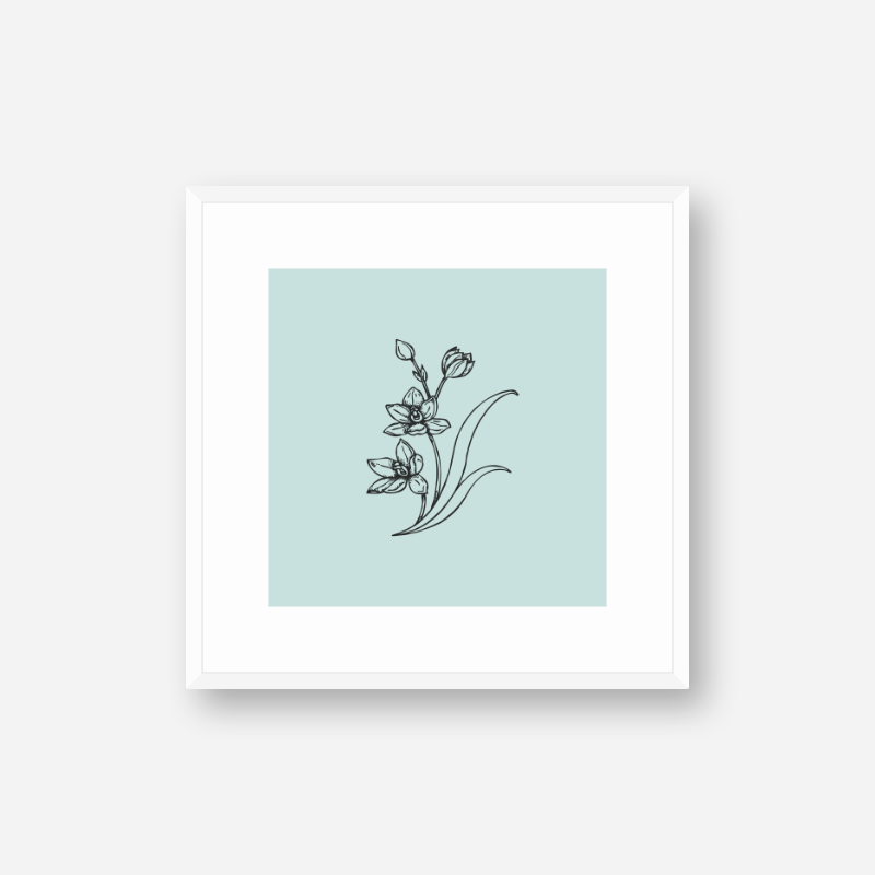 Black flower plant drawing with light teal greenish blue background design to print at home , digital print