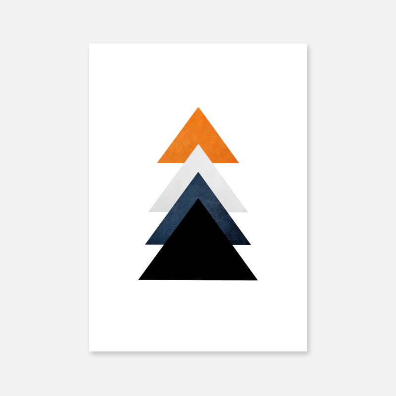 Orange blue and black triangles minimalist Scandinavian nordic style downloadable wall art