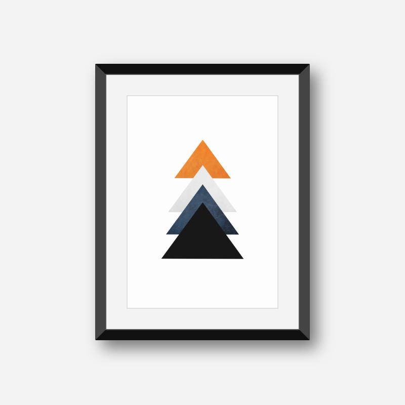 Orange blue and black triangles minimalist Scandinavian nordic style downloadable wall art, digital print