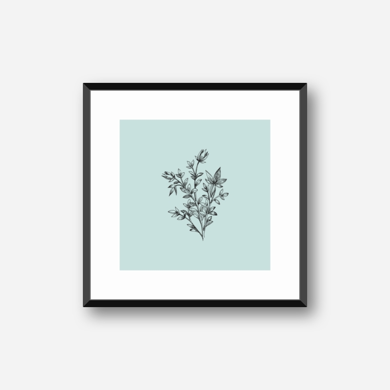 Black flower plant line drawing with light teal background design to print at home , digital print