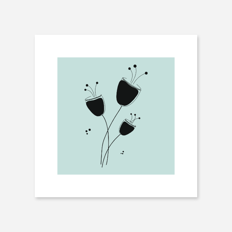 Poppy flowers drawing with light teal background design to print at home