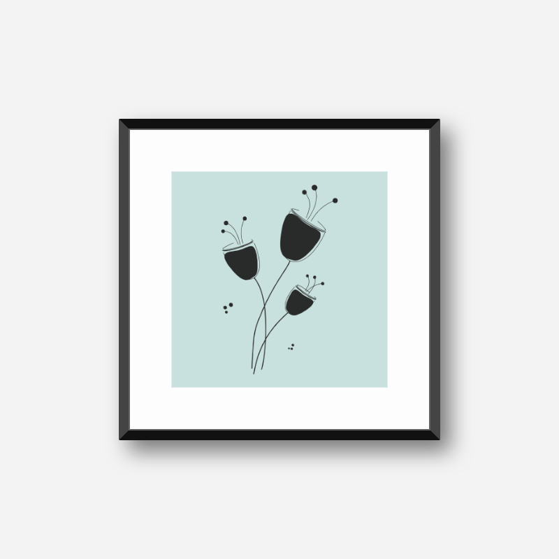 Poppy flowers drawing with light teal background design to print at home, digital print
