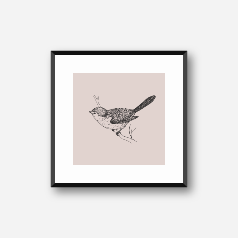 Bird on tree branch drawing with misty rose red background free printable design, digital print