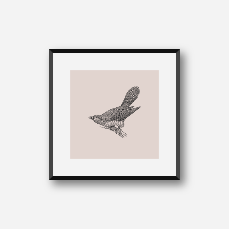 Bird on tree branch drawing with light greyish red background free printable design, digital print