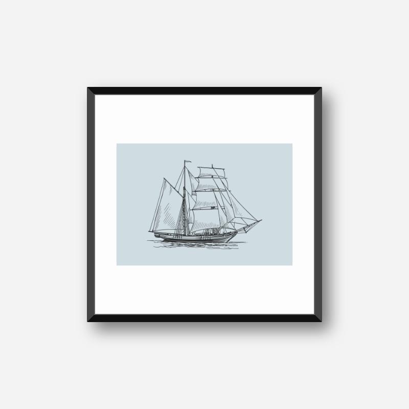 Vintage ship with light blue background downloadable design to print at home, digital print