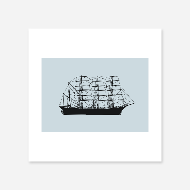Vintage ship with light blue background downloadable design to print at home